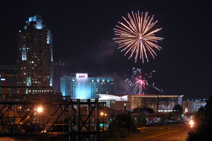 raleigh fireworks over downtown