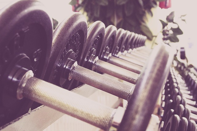 weights in a fitness center