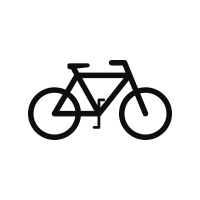 black icon of a bicycle