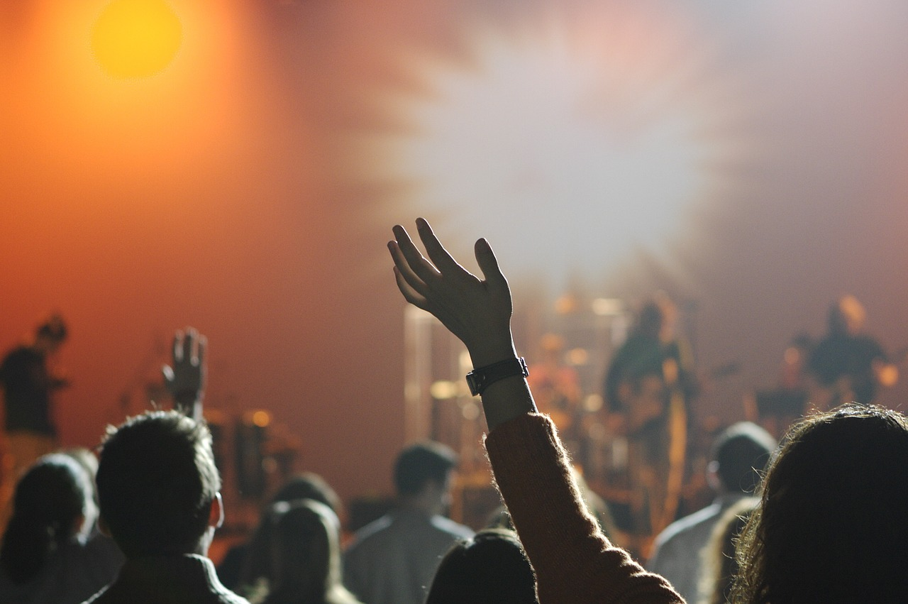 Woman holding her arm up in the air during a concert.