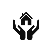 a black icon of hands holding a house