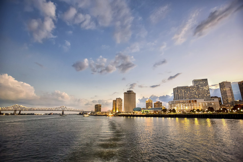 the mississippi river and new orleans skyline