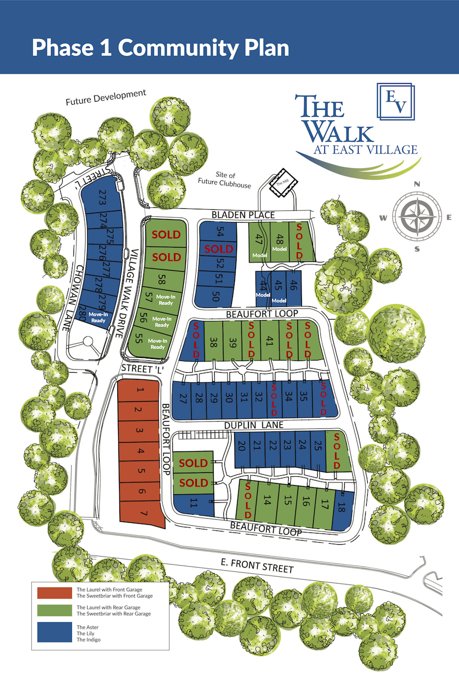 The Walk at East Village map of homes