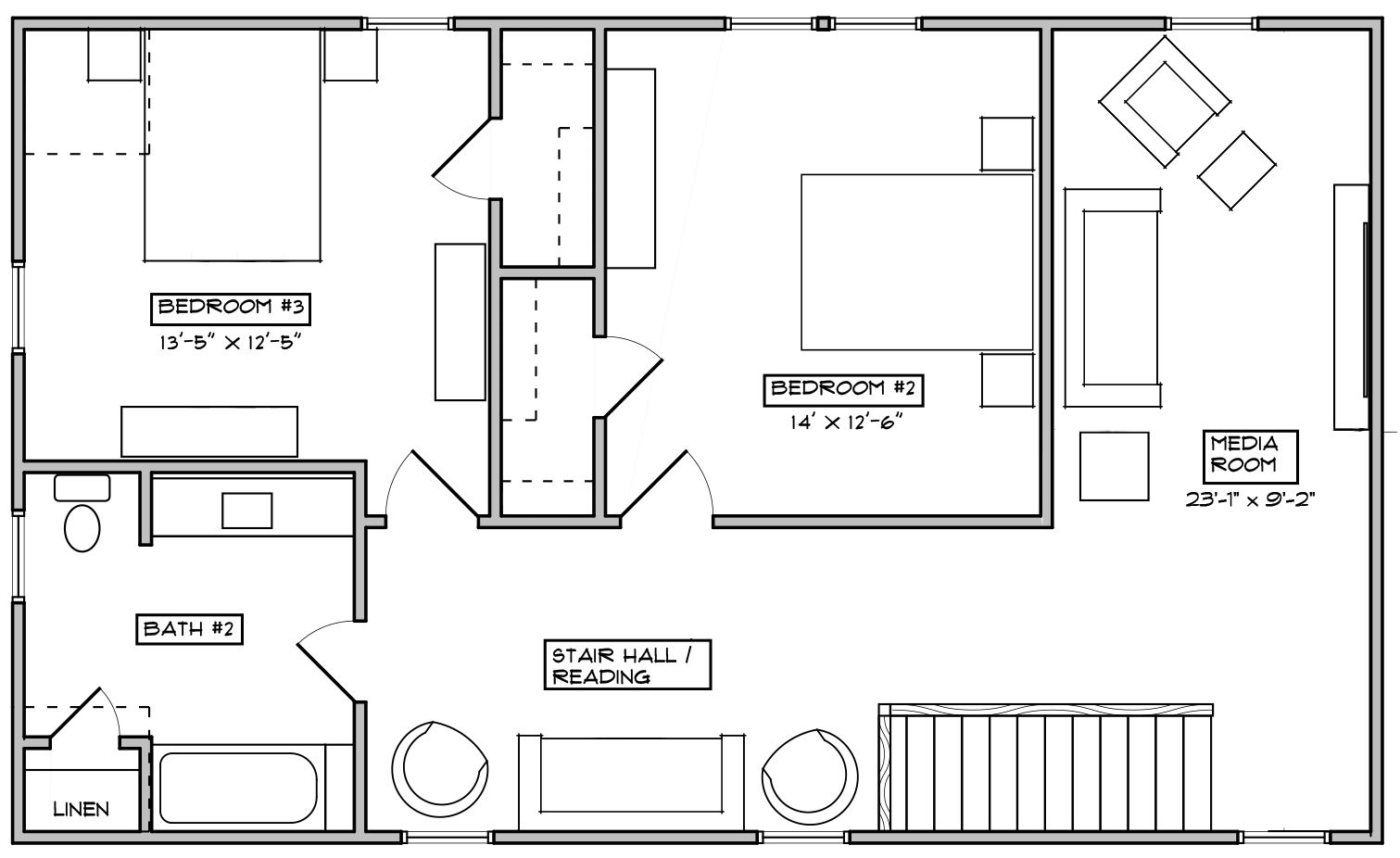 The Bluebell Second Floor Floorplan for Elevation A and C