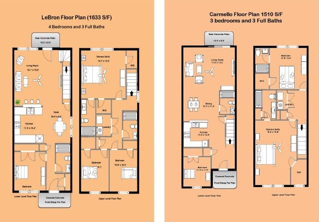 We have 3 and 4 bedroom plans with many great features and standards  Each  of our floor plans has a first floor bedroom and 3 full bathrooms. Raleigh NC Townhomes New Construction 3 and 4 Bedroom Upgrades
